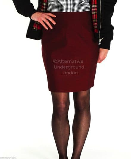 Relco Womens Burgundy Tonic Two Tone Fitted Skirt 60s Mod Skin Ska Skinbryd